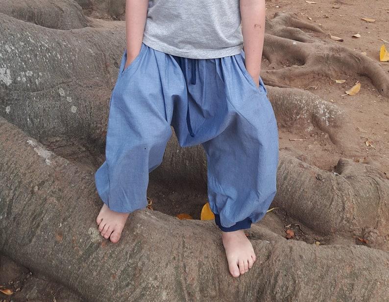 sarouel blue chambray and jersey Aummade boys babies unisexe ethnic pants Boys sarouel baggy girls boho summer kids harem pants