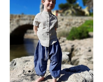 Look Blue denim sarouel / Summer grey checks shirt, boys set, boho look, ethnic style, indian style, ethnic pants, Aummade