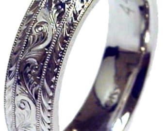 Men's Palladium Wedding Ring: 6mm Hand Engraved Made To Order Wedding Band