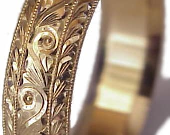 Men's 14K Gold Wedding Ring: 6mm Hand Engraved Made To Order Wedding Band in Yellow Gold, White Gold, or Pink Gold