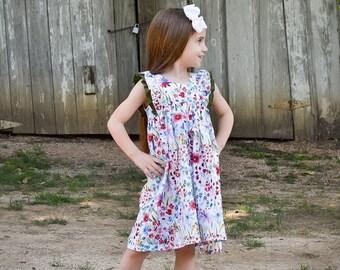 5709e3f9dd56 Girls Dresses - Toddler Girl Dress - Wildflower Dress - Flutter Sleeve Dress  - Swing Dress - Double Ruffle Sleeve Dress - Baby Girl Dresses
