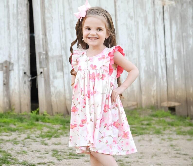 3a166d618bdf9 Girls Dresses - Toddler Girl Dress - Summer Dress - Flutter Sleeve Dress -  Swing Dress - Double Ruffle Sleeve Dress - Baby Girl Dresses