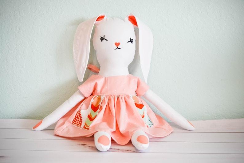 Woodland Decor Christmas Gift For Girls Bunny Nursery Decor Toys For Girls Woodland Nursery Stuffed Bunny Doll Handmade Dolls