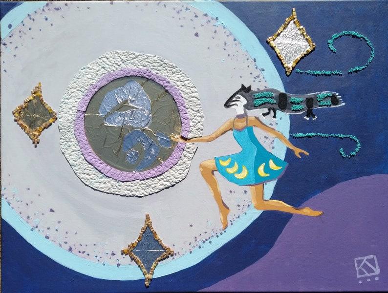 Leap  original painting native american mixed media image 0