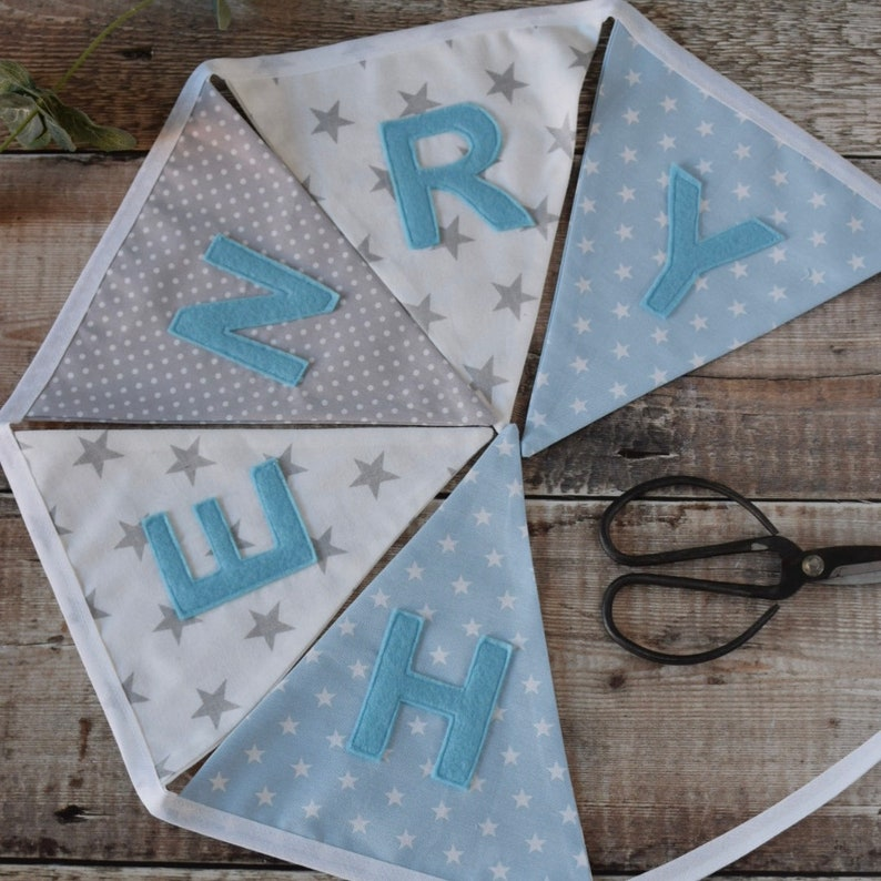 Personalised Name Bunting New Baby //Boys Bedroom,Nursery *QUALITY 100/% cotton