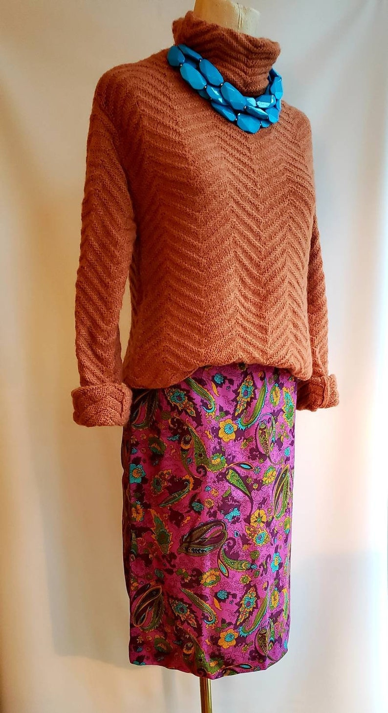 Recent Sisley Wool Sweater  High Neck  Chevron Pattern  PumpkinCarrot color