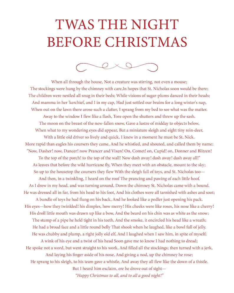 Twas the night before Christmas Printable  16 x 20 image 0