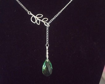 Lariat Necklace, Crystal Necklaces, Silver Branch Y Necklace, Branch Lariat Jewelry, Gifts For Her, Mom Gifts, Custom Jewelry, Grandmothers