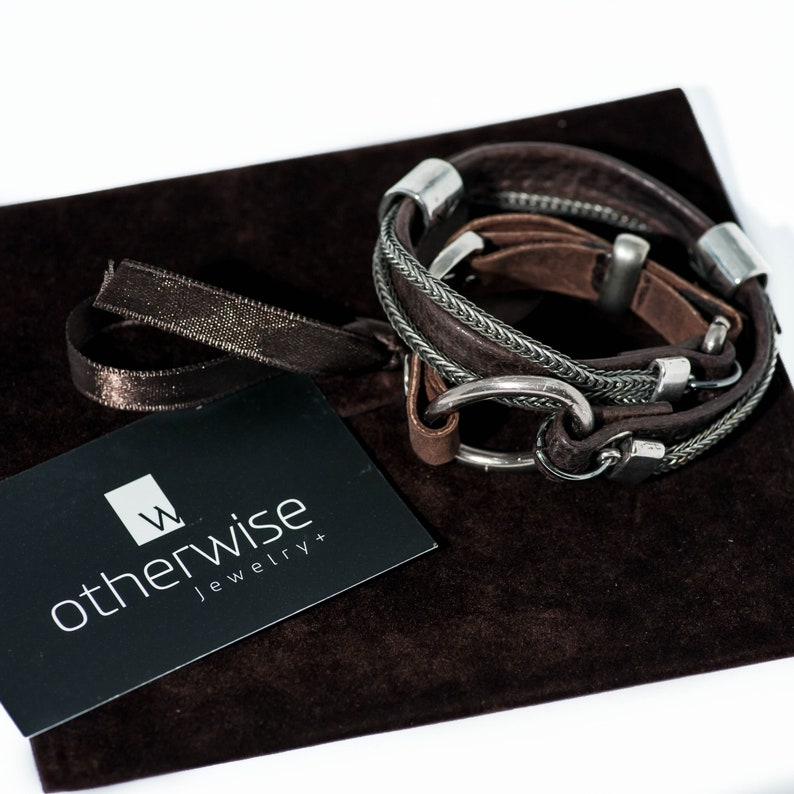 Men/'s double wrap bracelet with soft dark brown stitched leather bracelet for a strong look for men gun metal chains and metal elements