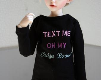 Embroidered 'Text me on my ouija board' shirt minifee