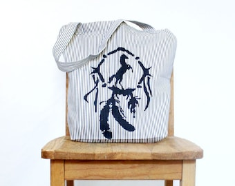 Southwestern Dreamcatcher Canvas Tote Rustic Horse Lover Denim Striped Ticking Reusable Shopping Bag Native American Inspired Gift for Her