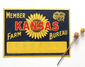 Vintage Kansas Farm Bureau member metal sign, rustic home decor, country sunflower wall art, southern decor, tin farm sign bright color wall