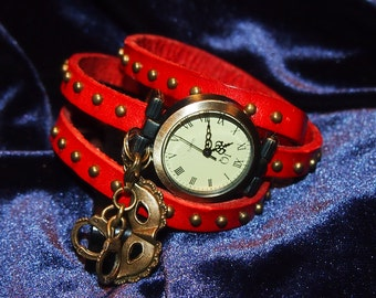 Wrap around watch band with kinky charms. Fifty shades of grey