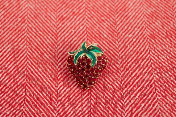Strawberry lapel pin, strawberry brooch, strawber… - image 2