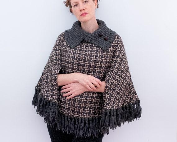 Vintage poncho, vintage 60s/70s poncho shawl, coll