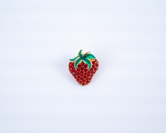Strawberry lapel pin, strawberry brooch, strawber… - image 1