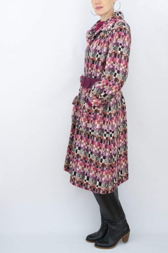 1960's Wool dress coat multi color with satin lini