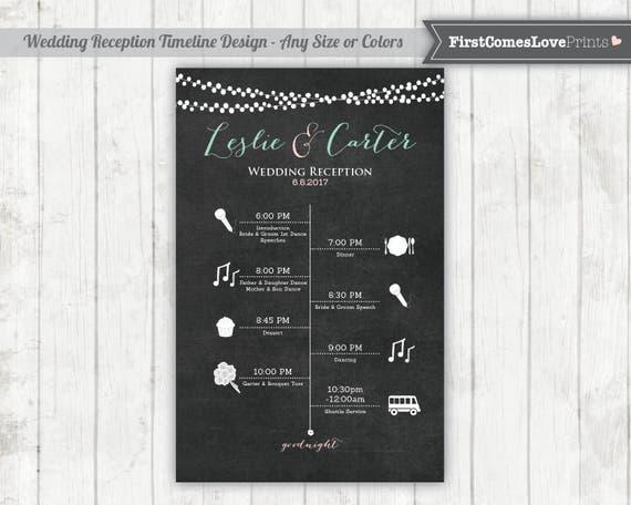 Wedding Reception Timeline Chalkboard Style Schedule For Etsy