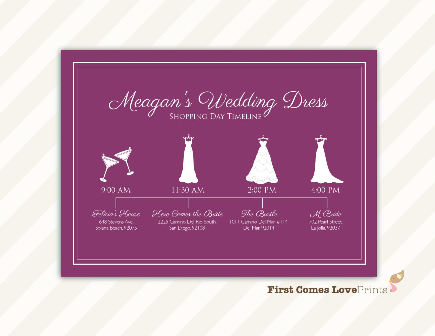Wedding Dress Shopping Day Schedule for Bridesmaids