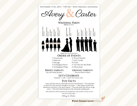 printable silhouette wedding program the avery etsy