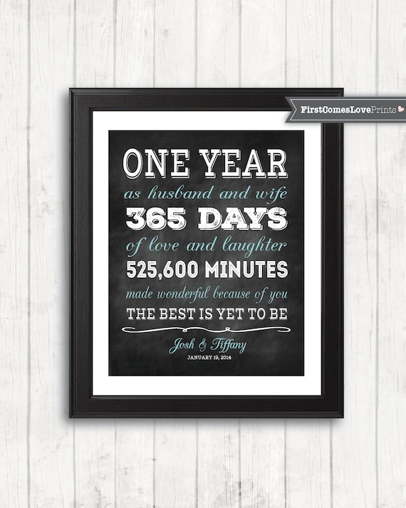 One Year Anniversary Gift For Wife For Husband Personalized Etsy