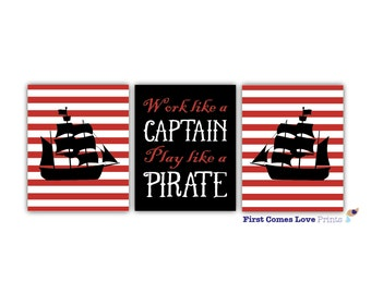 Printable Pirate Wall Art for Little Boy Bedroom - Customized Colors - Digital JPEG PDF - Work Like A Captain Play Like A Pirate Quote - Red