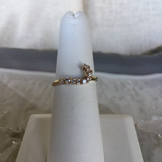 Diamond wedding ring, 14k yellow gold, ring wrap,