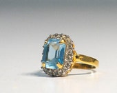 Vintage Ana BeKoach 18k HGE Gold Filled Emerald Cut Sky Topaz and Clear Crystal Rhinestone Ring Size 6 Estate Jewelry