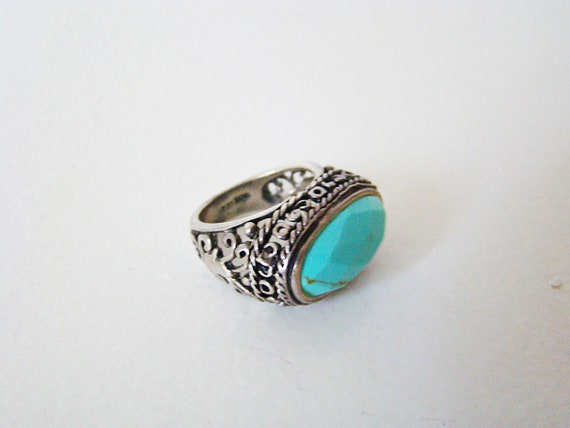 Vintage Turquoise Sterling Silver Ring 925