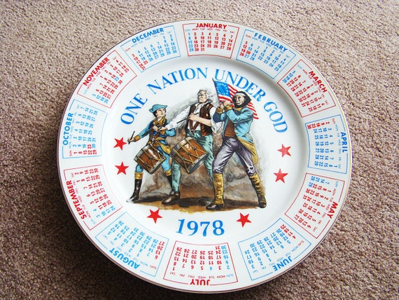 1978 Calendar September.Vintage Collectible 1978 Spencer Gifts Calendar Plate One Nation Under God Vintage 1978 Red White Blue Calendar Vintage Patriotic Plates
