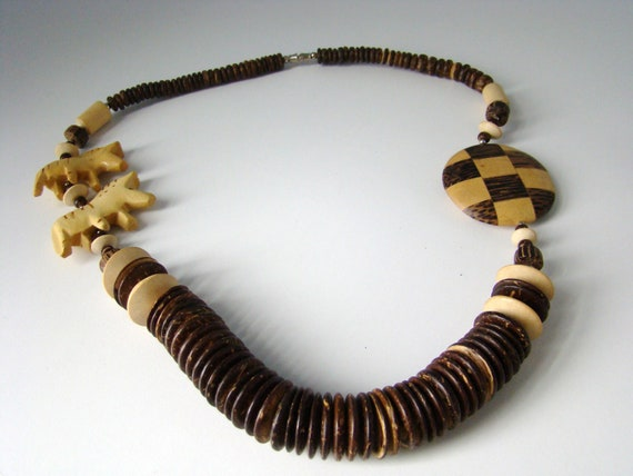 African Wood Necklace Wooden Animal African Neckla