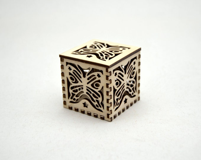 Butterfly Plywood Star Cube - small laser cut