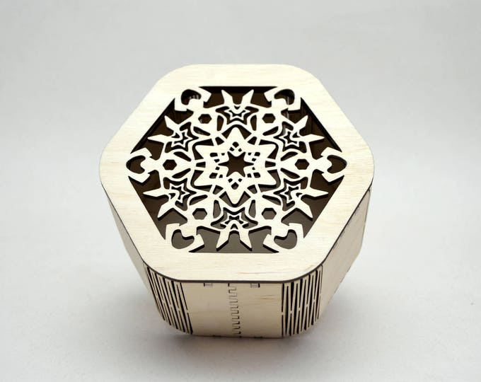 Hexagonal Snowflake Box made from Baltic Birch Plywood