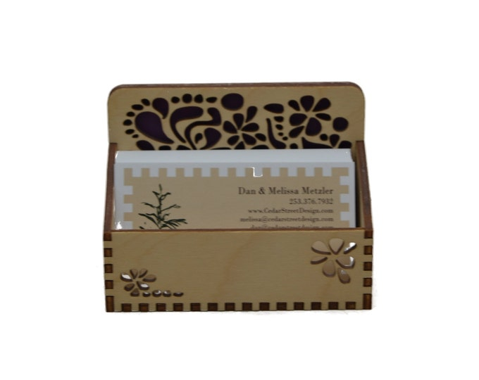 Floral Groove Business Card Holder