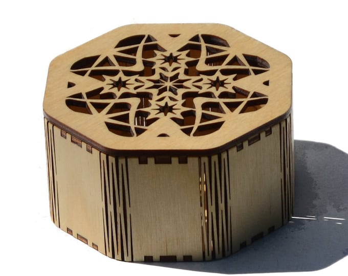Laser cut Octagonal Star Box made from Baltic Birch Plywood