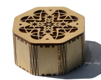 Laser cut Octagonal Star Box made from Baltic Birch Plywood