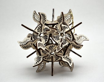 Sun Dancer Dodecahedron Plywood Ornament