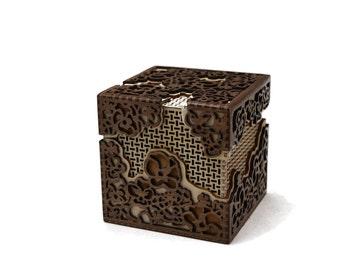Flower Basket Box - Laser Cut Walnut and Plywood