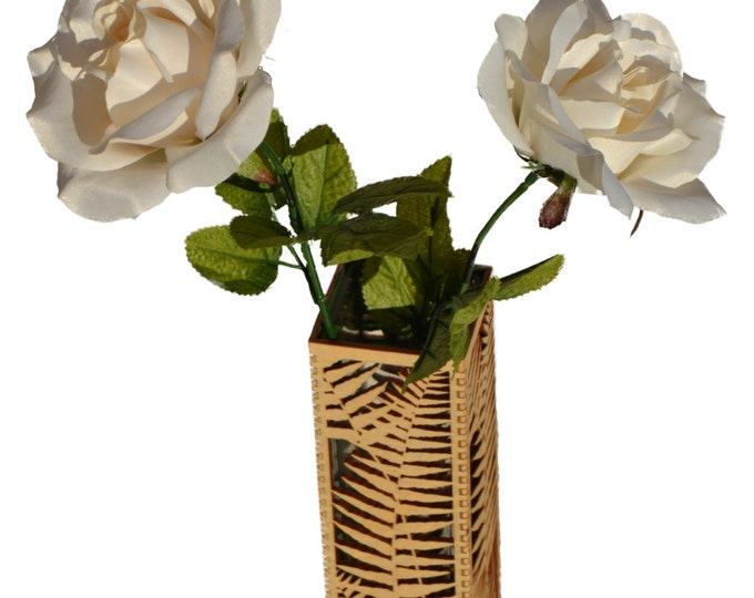 Fern Design Vase - Laser Cut Birch Plywood with Glass Insert