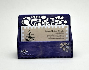 Purple Paisley Business Card Holder