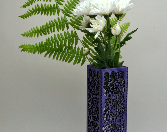 Purple Paisley Vase - Laser Cut Birch Plywood with Glass Insert