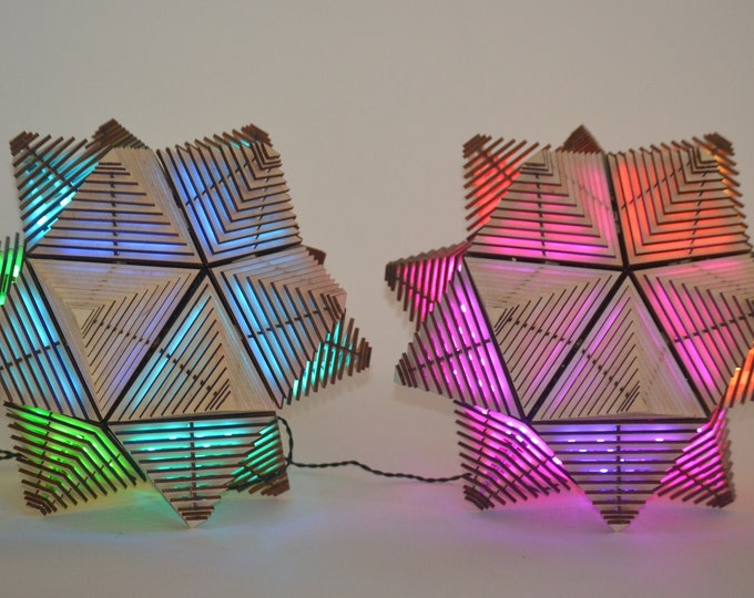 Pair of Stellated Plywood Icosahedron 400 LED Table Lamps