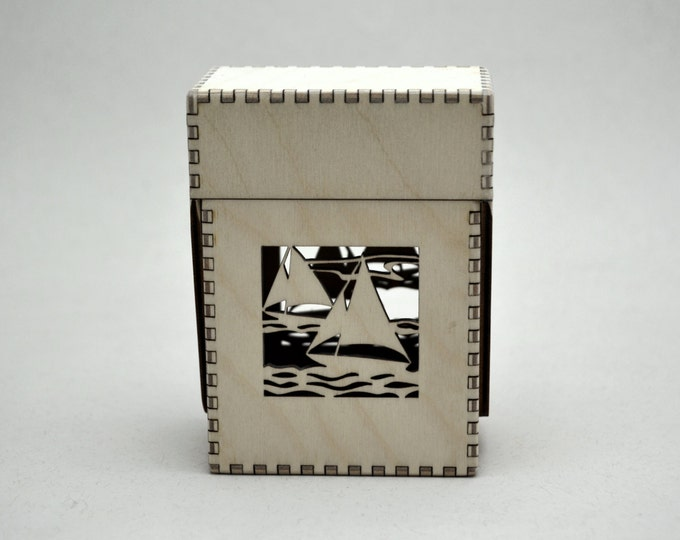 Sail Boat Fantasy Card Flip Top Box