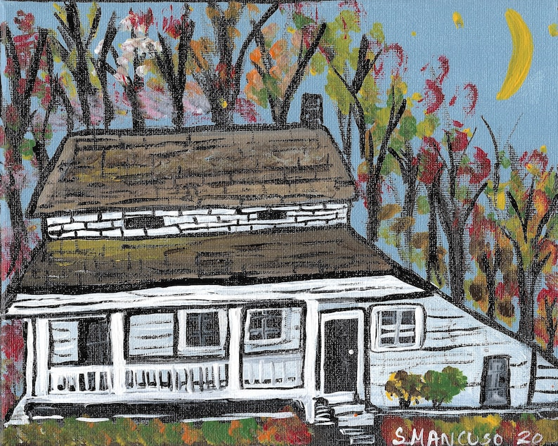The Edgar Allan Poe House Cottage in Bronx New York fall Original Painting