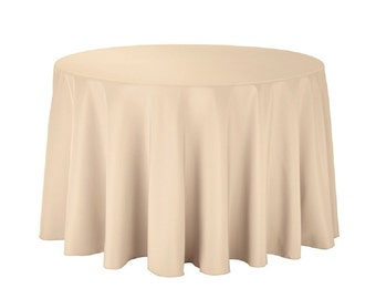 "108 inch Round Polyester Tablecloth - 108"" Beige Tablecloth 100% Polyester Wedding Table Linen"