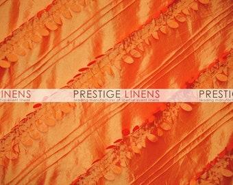 CLOSEOUT FABRIC - Forest Taffeta 3D leaf Dress Apparel - Orange - 2 Yard