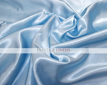 """Shiny Bridal Satin Fabric by the yard - Baby Blue - 60"""" Polyester Wedding Dress - Craft - Sewing"""