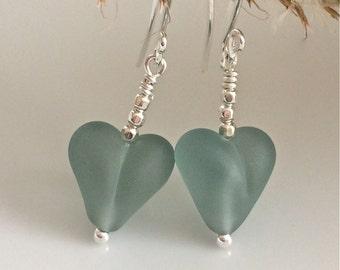 Heart Earrings / Blue Glass Hearts / Lampwork Glass / Light Blue Earrings / Matte Glass Hearts / Sterling Silver Earrings