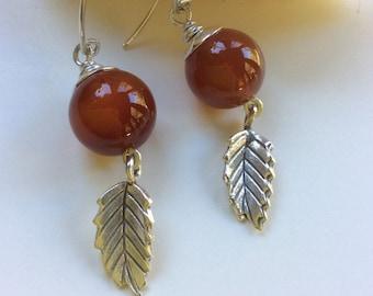 Russet Brown Agate Earrings   Sterling Silver Earrings    Agate and Sterling Leaves
