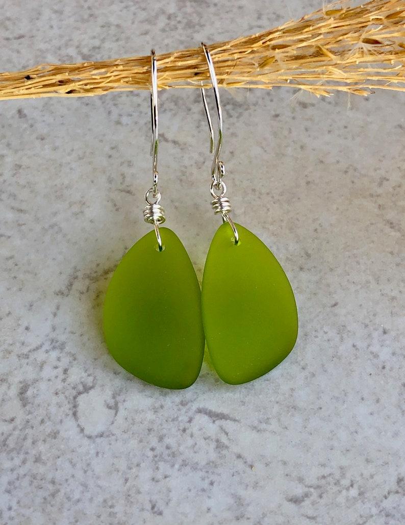 Olive Green Sea Glass Earrings   Sterling Silver Earrings